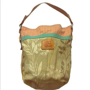 FOSSIL FLORAL CANVAS HOBO BAG